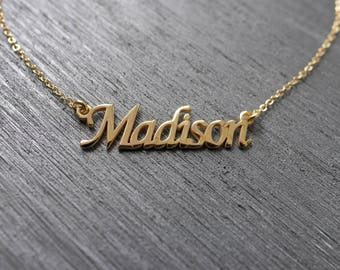 Nameplate Necklace, Personalized Name Necklace, Customized Necklace, Gold Name Necklace, Name Pendant Necklace, Name Plate Necklace, Gifts