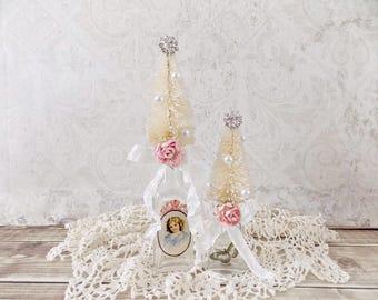 Shabby Christmas Bottle Brush Tree Home Decor