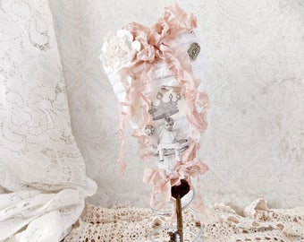 Shabby Pink and White Chenille Fabric Heart Mixed Media Assemblage Art