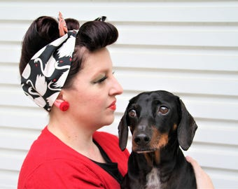Swan/ Japanese Head Scarf/ Dolly bow/ Bandana - retro/ rockabilly/ 50s inspired
