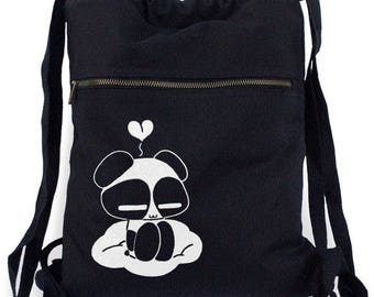 Panda Backpack kawaii drawstring bag cute school tote panda bear backpack japanese book tote decora