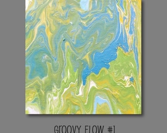 Groovy Acrylic Flow Painting #1 Ready to Hang 6x6