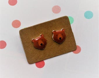Bear Earrings, Teeny Tiny Earrings, Bear Face Jewelry, Cute Earrings