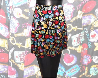 Nicole Miller Novelty Print 1992 Silk Pleated Mini Skirt Motel Keys 4