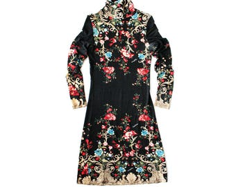 1990s ROBERTO CAVALLI Baroque Floral Print Dress