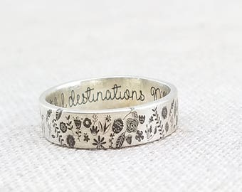 Personalized Ring - Sterling Silver Ring -  Jewelry - Engraved Ring - Flower Ring - Gardening Gift - Stocking Stuffer - Gift - Gift for Her