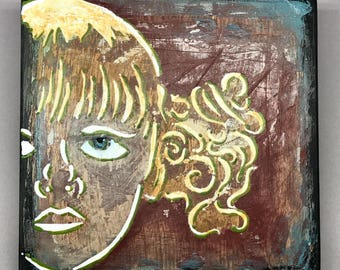 Girl with Yellow Curls - Original Mixed Media Spray Paint Stencil Art. 6X6 Wood Canvas