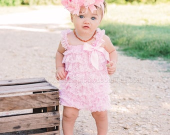 Pink Petti Lace Romper and Headband,Pink Ruffle Lace Infant Toddler Outfit,Baby Baby Romper,Toddler Lace Romper,Ruffle romper Pink Toddler