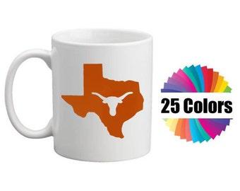 Coffee Cup Mug Decal Longhorn Western Texas State Decal Yeti Tumbler Rambler Car Window Set of 2 DIY Gift 25 Colors