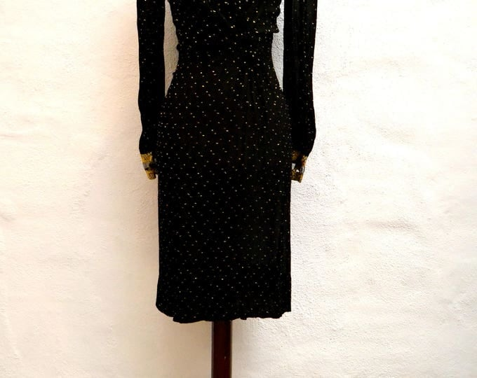 Early 1980's Show Stopping Chiffon Classic BLACK Dress with GOLD Flecks and Ribbon and Mesh Detail with GRECIAN Rouching.