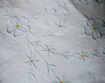 Vintage Embroidered Nightdress Case or Lingerie Bag with White Flowers on White Cotton