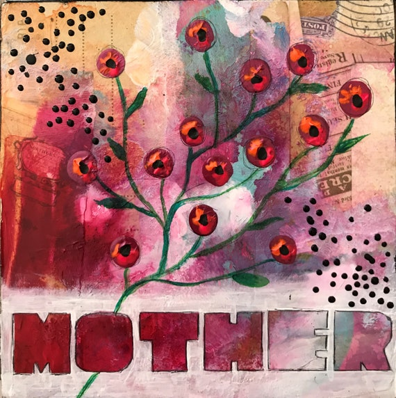 Mothers Day Gift Original Painting on Wood Mixed Media Whimsical Flowers