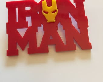 OOAK Marvel Disney Ironman hand pieced laser cut Pin / Brooch Avengers Tony Stark Iron Man Superhero