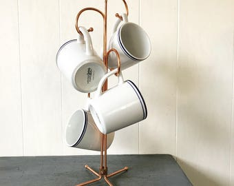 vintage copper mug tree - coffee cup rack - farmhouse French kitchen