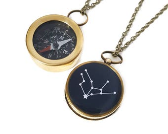 Virgo Constellation Necklace, Zodiac Jewelry, Working Compass, Brass Chain, August Birthday, September Birthday, Holiday Gift, Astrology