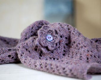 Cashmere Lambswool Lace Scarf Grape Violet Amethyst Lilac Scarflette Neckwarmer Muffler Knit to Order