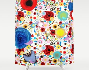 Shower Curtain - Ranunculus red flowers birds poppies