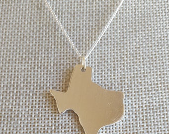 State Charm Necklace, Texas Necklace, Texas Map, Texas Outline, Lone Star State Jewelry, America Necklace, Map Gifts, Map Necklace