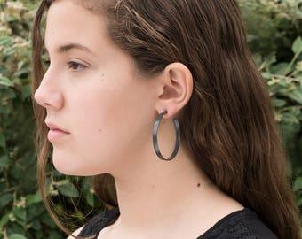 Sterling silver hoop earrings, wide oxidized, 50mm