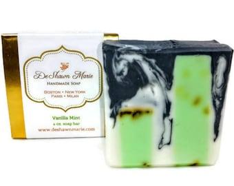 SOAP Vanilla Mint Soap, Natural Soap, Vegan Soap, Soap Gift, Activated Charcoal Soap, Handmade Soap, Christmas Gift, Stocking Stuffer