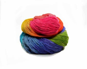 300 Yards Hand Dyed Cotton Crochet Thread Size 10 3 Ply Antique Rainbow Yellow Green Blue Red Violet Orange Fine Cotton Yarn