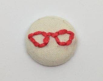 Red Cat-Eye Glasses Button Embroidery Librarian