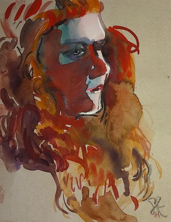 Red Hot portrait- original watercolor portrait painting by Gretchen Kelly
