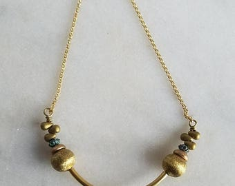 De-Stash Sale Gold Brass and Lucite Necklace, Verdigris Patina, Vintage Beads