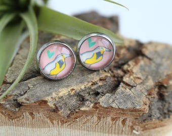 Meadowlark Bird - Oregon State Bird Illustrated Earrings | ATL-E-MEA