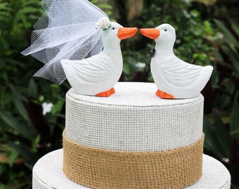 Pekin Duck Wedding Cake Topper:  Handcarved, hand painted Wooden Duck Cake Topper