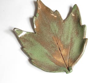 Maple Leaf - Spoon Rest - Tea Bag Rest - Ring Dish - Trinket Tray - Green