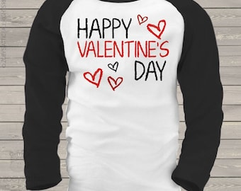 Valentine shirt happy valentines day personalized or non-personalized raglan shirt - adorable Valentine's Day shirt  snlv-039-r