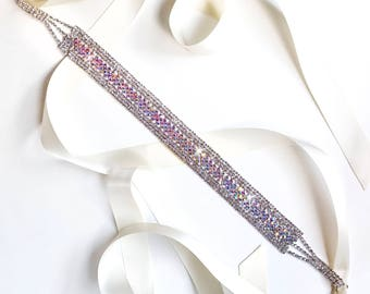 Sash - Aurora Borealis Wedding Dress Sash - AB Crystals - Satin Ribbon Tie - Silver and AB Crystal - Rhinestone Bridal Belt
