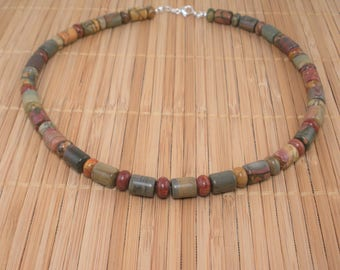 Gemstone Necklace Chunky Brown Necklace Rust Green Brown 17 inch Necklace Jasper Stone Necklace Multi color Brick Red Green Brown Gemstone