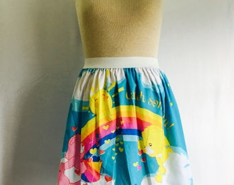 "Colorful Care Bears Ladies Skirt from upcycled fabric - - 38"" - 44"""