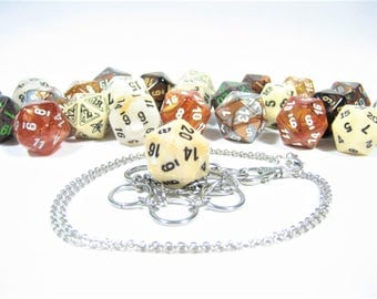 Gold, Bronze & Ivory d20 Necklace and Key Chain Combo With Removable Dice - Gifts for Geeks and Gamers