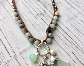 Beaded Sea Glass Necklace