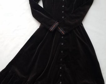 Vintage Gunne Sax Velvet Black Boho Festival Dress 1970s Prairie Hippy Long Sleeve sz 13 Juniors