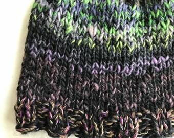 Wool knit hat, men women adult, warm winter beanie, soft merino wool silk hand knit, unisex snow ski hat, S M L black green purple i750