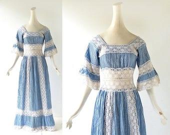 Bohemian Maxi Dress | Mexican Wedding Dress | 1970s Dress | XXS