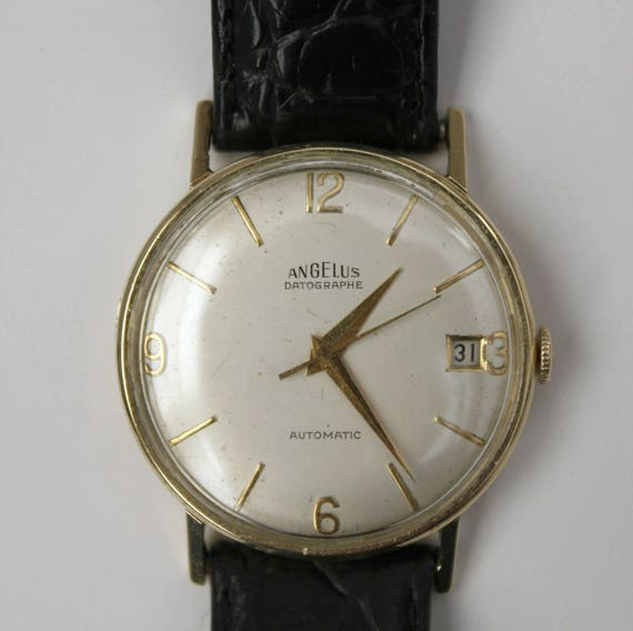 Vintage 14K Angelus Datographe Automatic Watch, 14K Gold Mens 17 Jewel Wristwatch