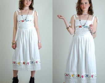 Mexicana Dress Embroidered Cotton Crochet Mexican Summer Dress (m l)