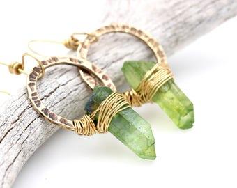Quartz Crystal Earrings Raw Crystal Earrings Raw Jewelry Hoop Earrings Brass Hoops Green Crystal Earrings Bohemian Earrings Bohemian Jewelry