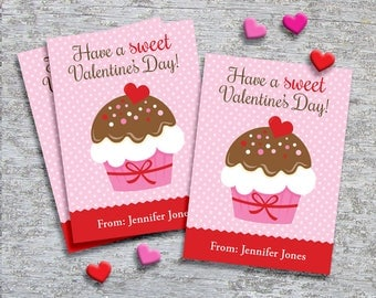 Personalized Classroom Valentine Cards for Kids – DIY Printable – Cupcake Pink (Digital File)