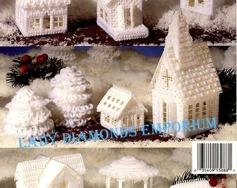 Plastic Canvas Snow Village Kooler Design Studio Homes Church Schoolhouse Cottage Town Square Bandstand Vintage Christmas Pattern Book 3088