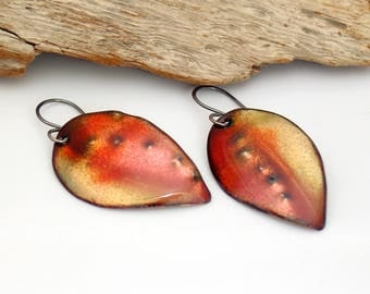 Fall Leaves, Ripe Nectarine Colors Enameled Art Earrings, Vitreous Enamel Copper Leaf Dangles, OOAK Original Art Earrings, Outstanding Gift