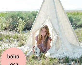 Play Tent for Girls - Timeless Indoor Teepee Tent with Mat for Kids