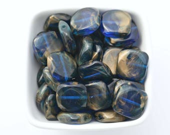 Vintage Lucite Rounded Flat Square Blue Gold Washed Beads 19mm (10)