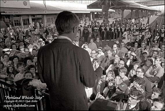 PORTLAND WHISTLE STOP, Robert F. Kennedy, Clyde Keller 1968 Photo