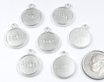 Metal Inspirational Word Coin Charms-Silver PEACE 14 x 17mm (20 Pieces)